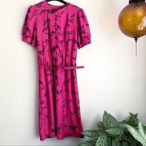 Vintage Sue Sherry short sleeve belted midi dress